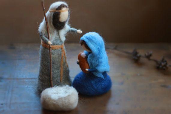 Blue Holy FamilyNativity Scene Baby Jesus Mary by CloudBerryCrafts