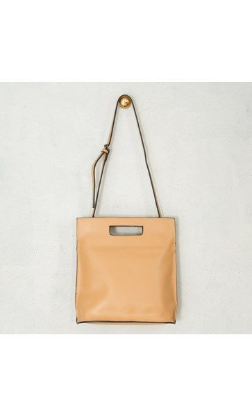 Leather Up Right Self Handle Clutch Bag