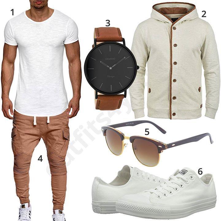Lässiger Herren-Look mit weißem S!rpreme Shirts, Blend Pullover, Oozoo Armbanduhr, MT Styles Biker-Hose, GQueen Brille und Converse Sneakern.