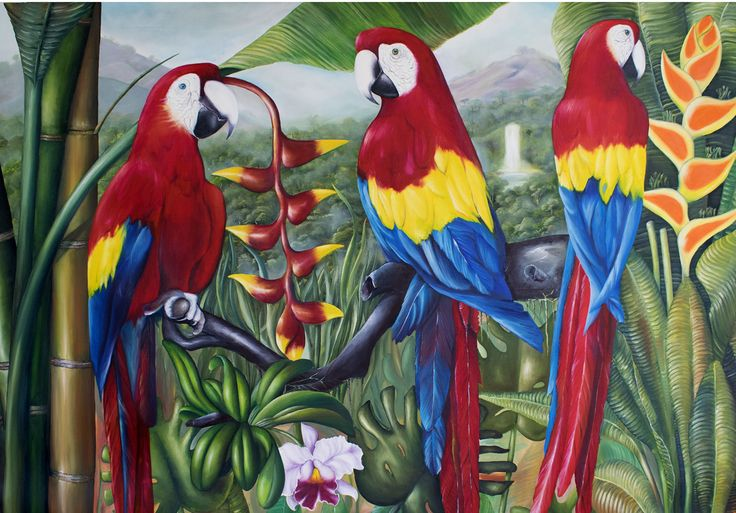 Guacamayas tricolor. Oleo 100x180