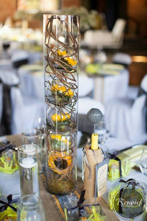 Rustic Fish Bowl Centerpiece : Table centerpiece fish bowls inside glass cylinder with