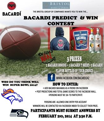 Bacardi wants to know who you think will win this years Super Bowl? Join the contest by visiting www.facebook.com/bacardi242 and give us your predictions for the total score and winning team.