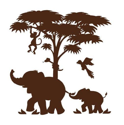 silhouette safari - painted mural