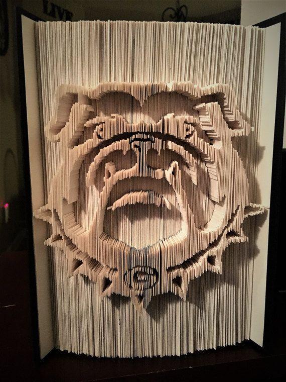 UGA Bulldog Book Folding by IntoTheFoldsBoutique on Etsy