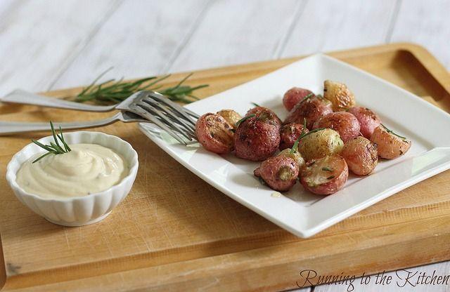 Salted rosemary roasted radishes
