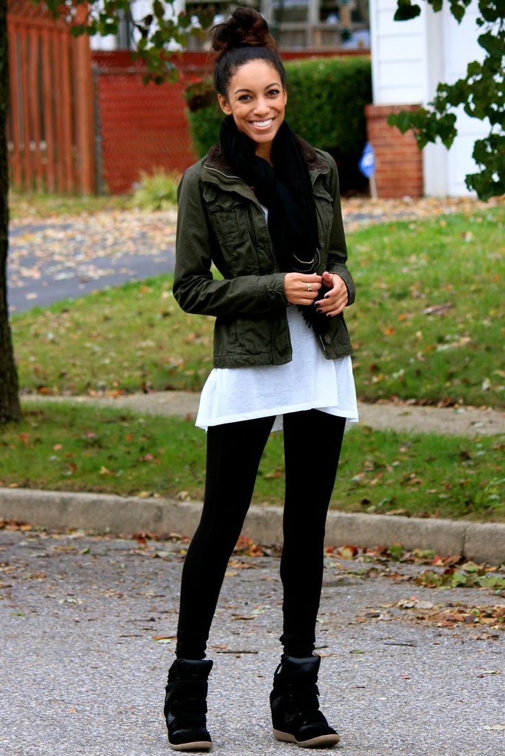 black leggings and wedge sneakers - cute outfit, would do a printed scarf to give the outfit some boldness