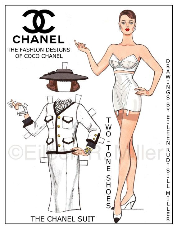 Beautifully drawn original paper dolls. Doll and 4 costumes printed on 2 sheets…