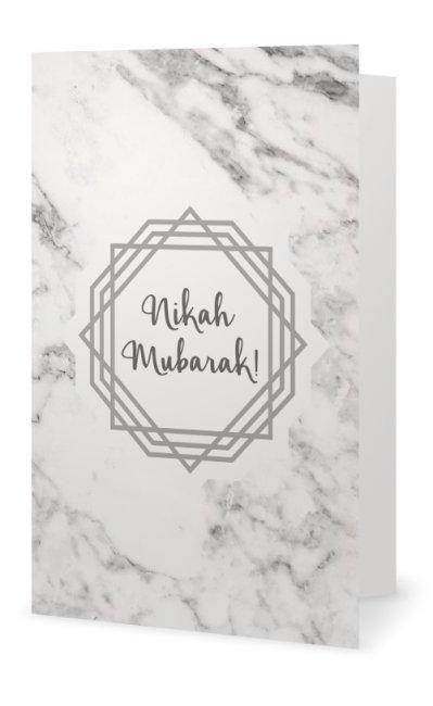 Marble Nikah Mubarak Card - Muslim Greeting Card for Nikah and Weddings