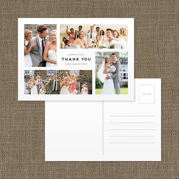 Personalised Photo Montage Wedding Thank You Postcard