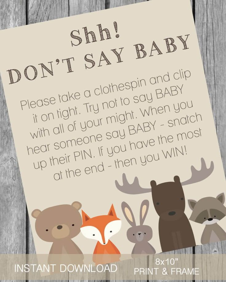"Printable ""Don't Say Baby"" Clothespin Baby Shower Game - Woodland Theme - Print It Baby"