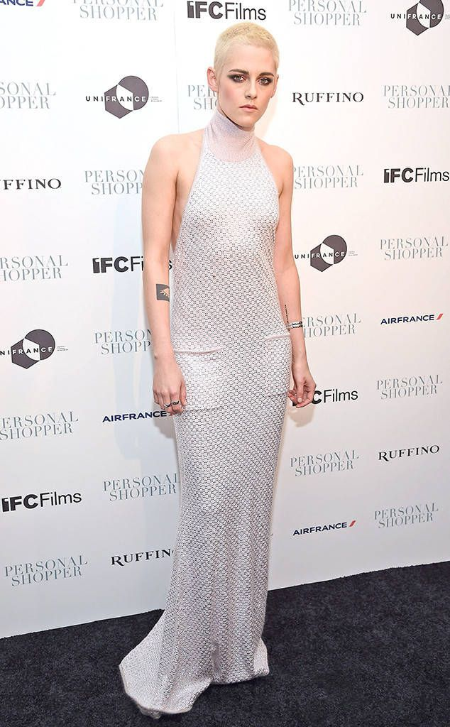 Shop Girl from Fashion Police  Kristen Stewart keeps it simple and stunning for the RuffinoWines-sponsored New York premiere of Personal Shopper in an embroidered Chanel halter gown. If we had one problem with this, it would be that extra-long hemline; otherwise, this is K. Stew at her most fabulous.