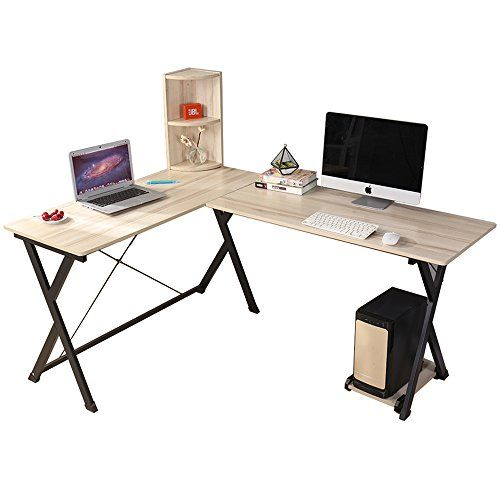 Dland Computer Desk L-Shaped Home Office PC Laptop Desk Triangular Fixed X-Type Frame Corner Table Workstation with Bookshelf Maple For Sale https://homeofficefurnitureusa.info/dland-computer-desk-l-shaped-home-office-pc-laptop-desk-triangular-fixed-x-type-frame-corner-table-workstation-with-bookshelf-maple-for-sale/
