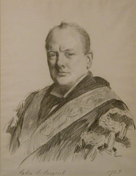 Portrait of Churchill wearing his official robes as Chancellor of the Exchequer, by John Singer Sargent, 1929. © National Trust Collections