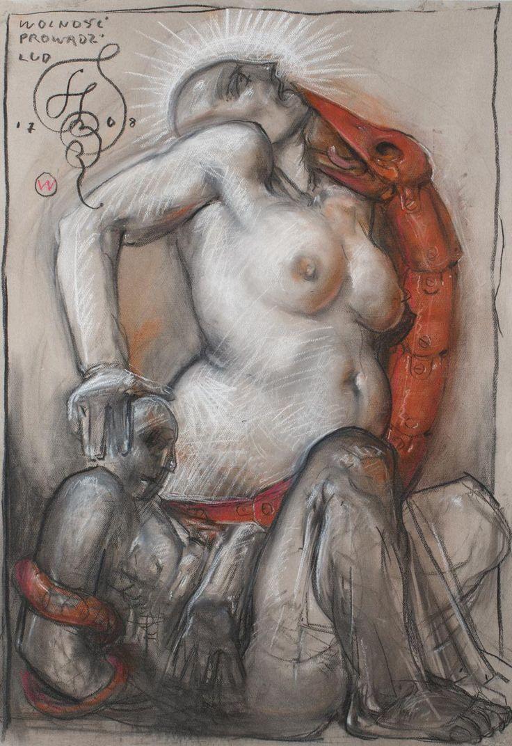 FRANCISZEK STAROWIEYSKI (1930 - 2009)  WOLNOŚĆ PROWADZI LUD, 2008   pastel, papier; / 70x100 cm