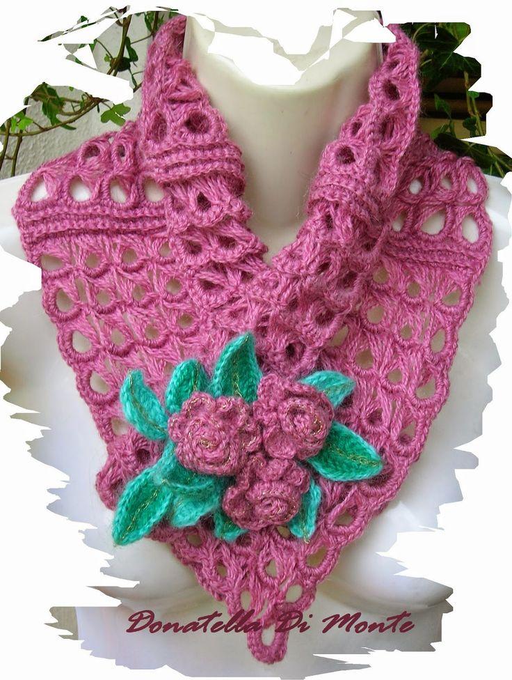 LE CREAZIONI DI DONY: scaldacollo di  lana color rosa secco con spilla d...