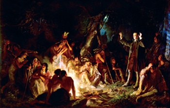 """This painting is titled """"The Power of the Gospel"""" and was produced in 1862 by the Alsatian-American immigrant artist, Christian Schussele (1824–1879). It depicts the Moravian (Herrnhuter) missionary David Zeisberger (1721–1808) evangelizing among Native Americans. Born in Europe, Zeisberger lived most of his life among various Indian groups, mainly in Pennsylvania and Ohio. His extensive writings on Native cultures and languages, several of which he spoke fluently, remain invaluable sources…"""