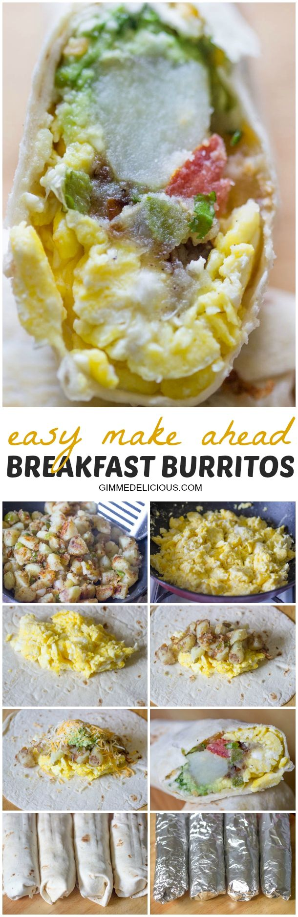 Make Ahead Breakfast Burritos | Gimme Delicious