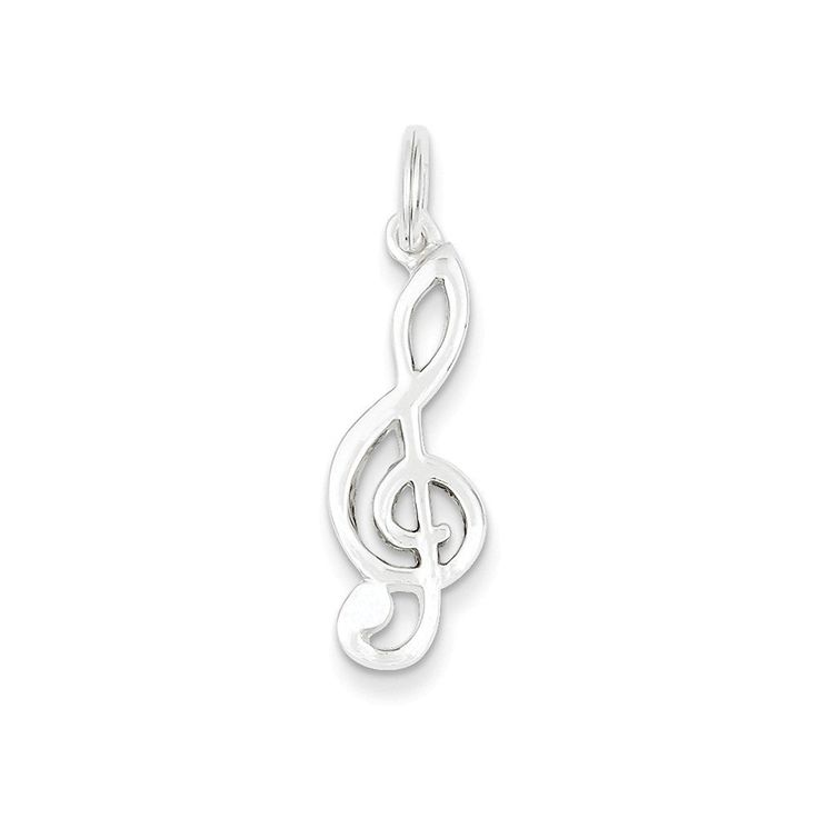 41af792c19d26 Sterling Silver Flat Back Polished Music Note Charm Length 24mm   Learn  more by visiting the