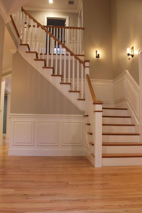 Poly-ed red oak floors and BM Revere Pewter
