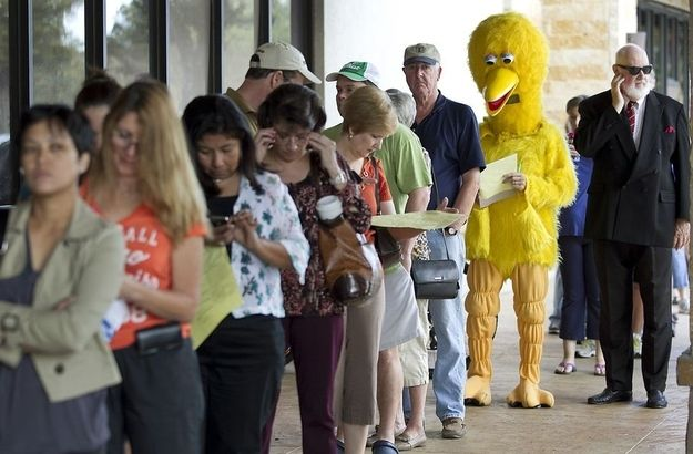 Big Bird Votes In Texas: John Kelso of the Austin American Statesman decided to vote early dressed as Big Bird... Keep Austin Weird.