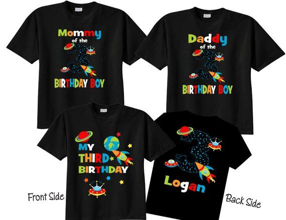 3 Birthday Shirt Set For The Family With Mom Dad And Child Shirts Number Or Any Space Theme Spaceships Rockets