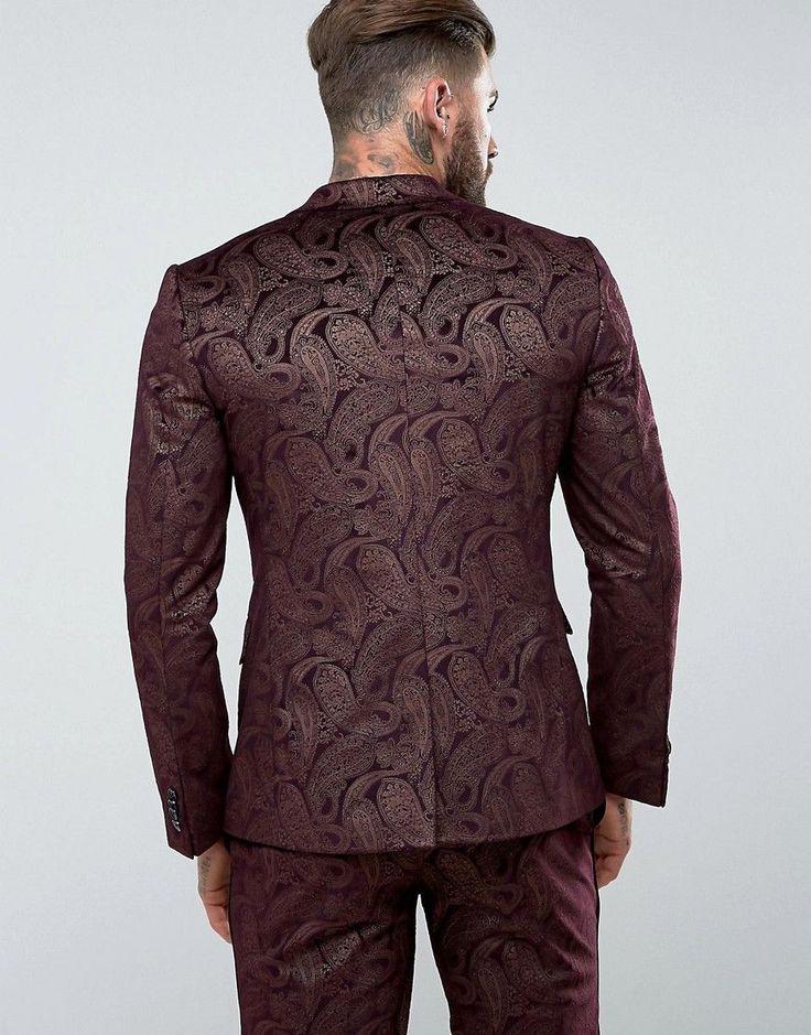ASOS Skinny Tuxedo Suit Jacket In Burgundy Velvet Paisley - Red