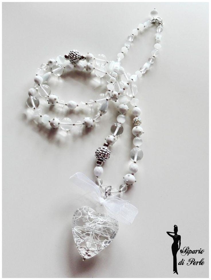Collana bianca (total white) con splendido cuore pendente e perle in vetro - IDEA S.VALENTINO, by Sipario di Perle Creazioni, 25,00 € su misshobby.com