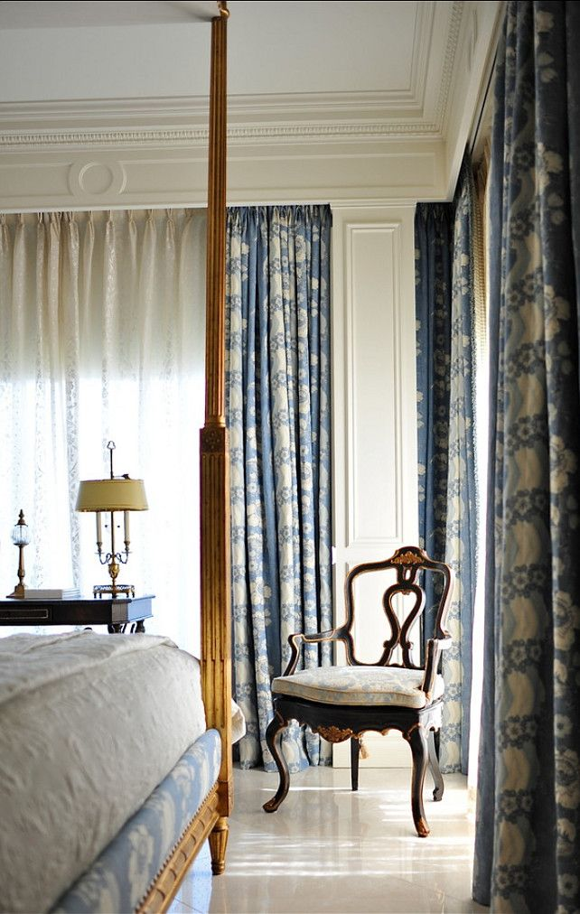 Traditional Bedroom with blue and white motif. #TraditionalInteriors #Blue&White #Homedecor