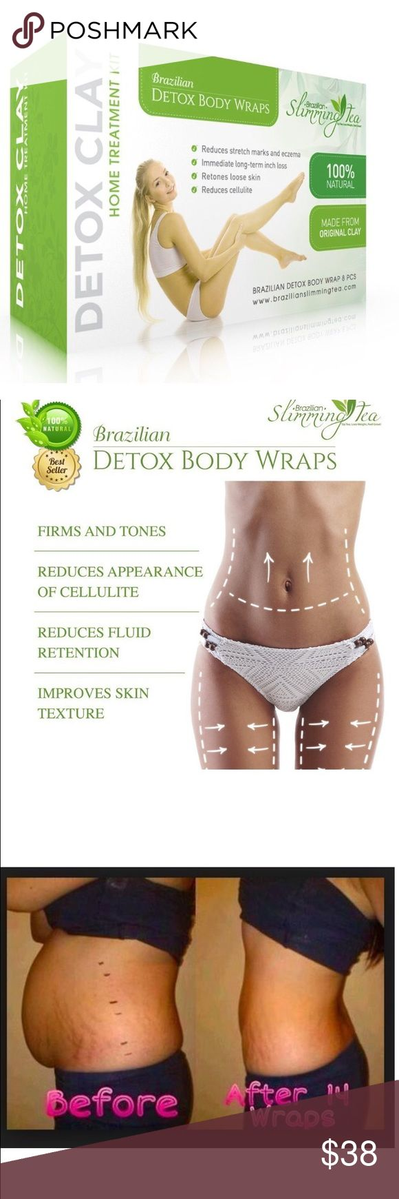 Brazilian volcanic clay Detox weight loss wrap GET RID OF BELLY FAT FAST THE NATURAL WAY  PROMOTE FIRMER, SMOOTHER SKIN-Detox Clay body wrap boosts skin firmness to tighten loose skin, diminish cellulite and make stretch marks less apparent; Also acts as a slimming body wrap to battle bloating COMPLETE BODY WRAP TREATMENT KIT - Pack includes EIGHT body wraps for stomach, arms and thighs! You'll notice results the first time that you use our natural body wraps RESULTS GUARANTEED-100%…