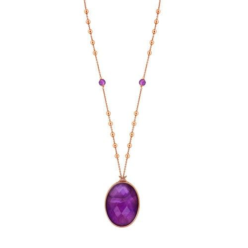 Celine Collection Mor Kristal Taşlı Rose Gold Kaplama 925 Ayar Gümüş Kolye #neckless #silver #purple #fashion #jewellery #accessorize #women #trend #sochic #kristal #moda #pearl #rose