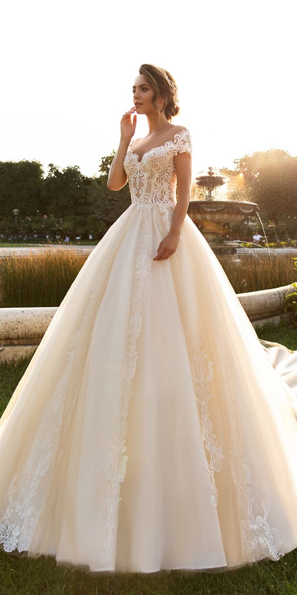crystal design 2018 wedding dresses ball gown blush sweetheart neckline lace  with short sleeves style kaitleen fc90099ef549