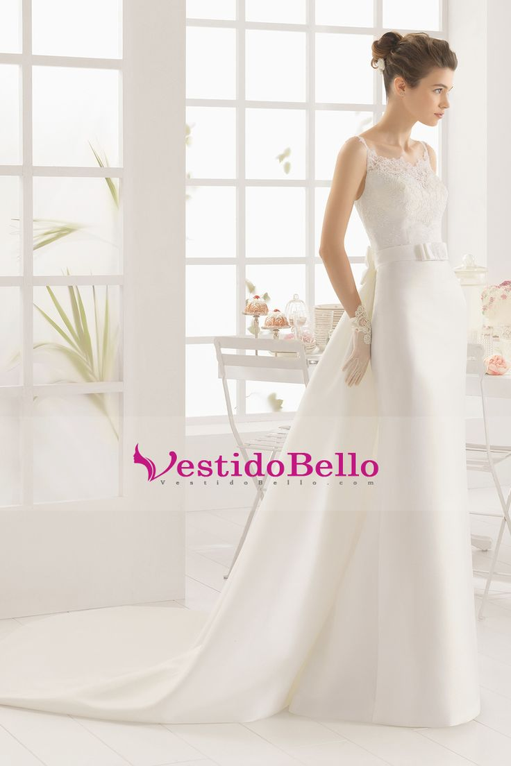 2016 vestidos de novia correas espaguetis satén con arco nudo Corte tren desmontable