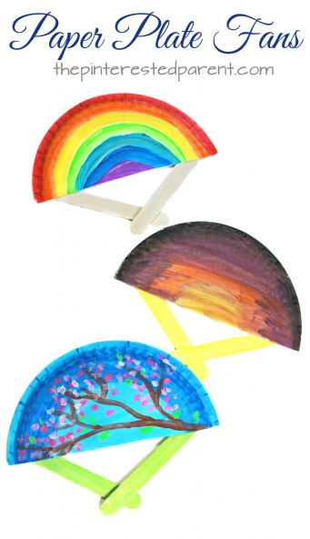 Paper plate fans for the spring and summer. These hand fans are a simple arts  sc 1 st  Pinterest & 782 best Paper Plate Craft Activities images on Pinterest | Paper ...