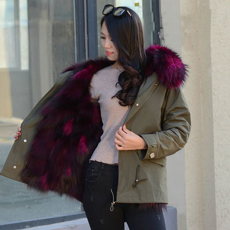 Uzunluk 90cm Kadınlar için Kış Ordu Yeşil Keçi Boyu Büyük doğal gerçek kürk Yaka Kalın Ceket Üst Giyim Tilki ve rakun palto