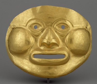 Mask, 1st century b.c.–1st century a.d.  Colombia  Gold    Lifesize hammered masks are the largest objects produced in gold in the ancient Americas.