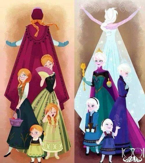 As irmãs Anna e Elsa (a rainha do gelo)