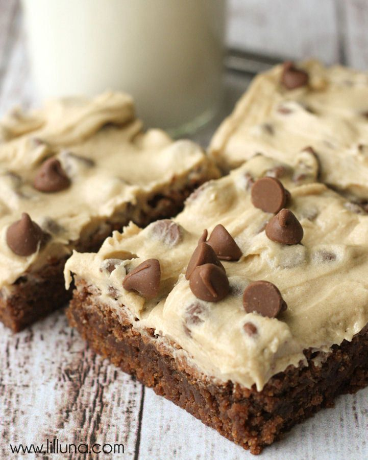 Super delicious brownies with Cookie Dough Frosting - Making these this weekend for my cheat day!