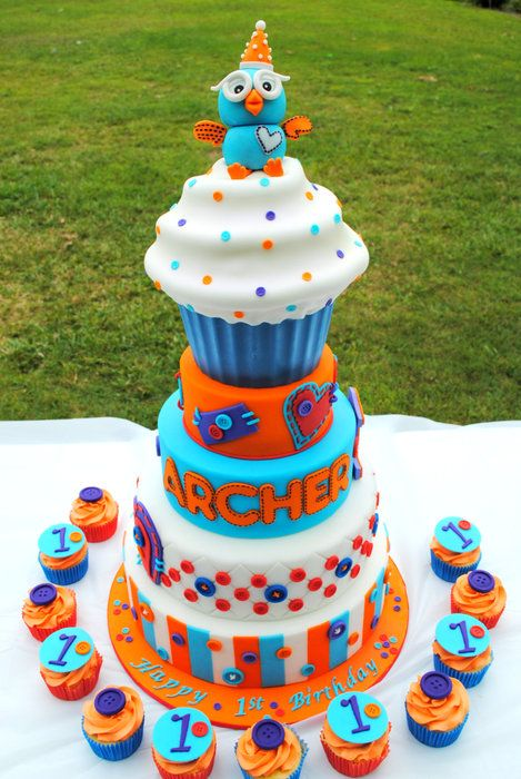 Orange, Turquoise Purple Hoot Cake with Cupcake Topper (Archer)
