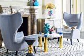 The @jonathanadler futuristic Globo collection features bold LuciteLux® spheres and cabochons adorning a cocktail table, console, chandelier, table lamp and storage box.