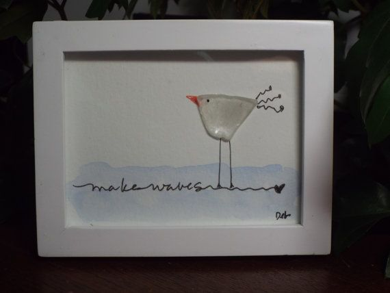 Whimsical Seaglass Seagull - Make Waves - Original seaglass seagull with watercolor and hand lettering