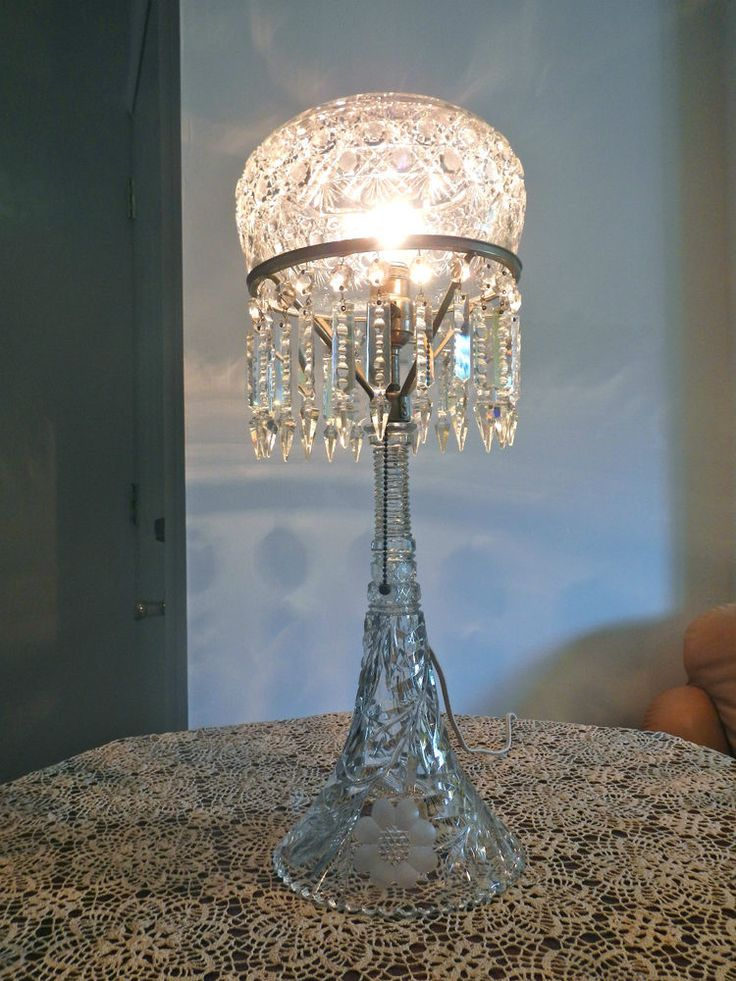 Outstanding Antique Vintage 24 1 2 Inch Tall Cut Crystal
