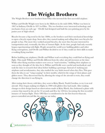 Worksheets: The Wright Brothers