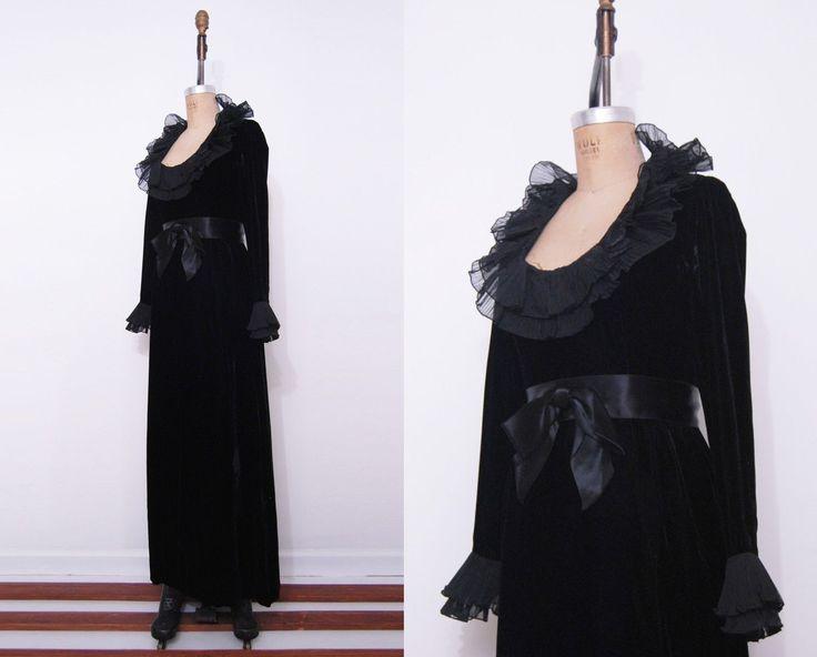 Vtg Fred Perlberg Sexy Goth Black Ruffle Satin Long Velvet Mortisha Adams Hottie | eBay