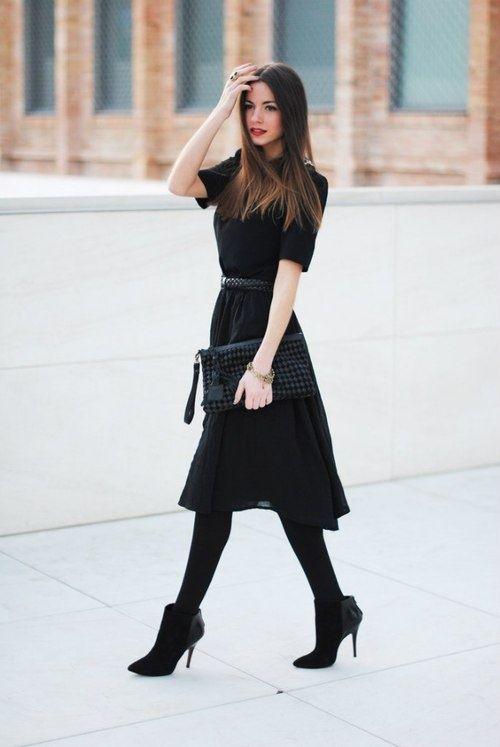 black dress tights ankle boots i n s p i r a t i o n