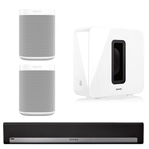 Sonos 5.1 Home Theater System with Sonos ONE (Pair), PLAYBAR, and SUB (White) This Bundle Includes (4) Items: (2) Sonos ONE Voice Controlled Smart Speakers, (1) Sonos PLAYBAR TV Soundbar , and (1) Sonos SUB Wireless Subwoofer  The Sonos ONE voice controlled smart speaker delivers a surprisingly rich, room filling sound from a smart speaker The Sonos PLAYBAR complements HD television screens with crisp and powerful sound from nine amplified speaker drivers. Wirelessly streams