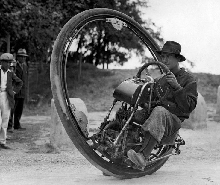 Curious monowheel motorcycle from the 1930s.