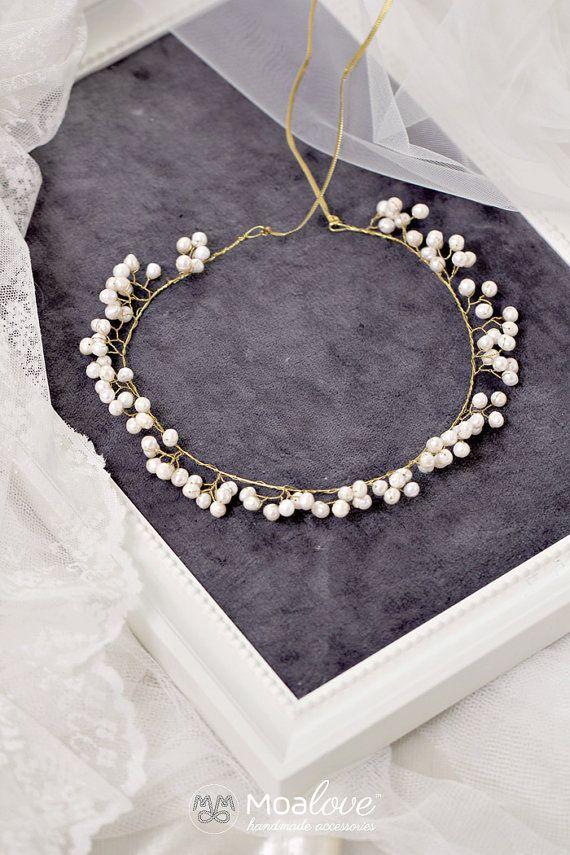 Casco accesorio Birdal, Halo, pelo de la boda, adorno de la novia, agua dulce perlas, vid de pelo, cabeza, corona, cabeza pieza, oro Estilo 559 __________________________________________________________  Odessa | vid de pelo de perlas de agua dulce