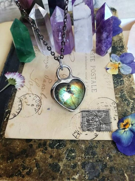 Heart Labradorite Pendant, Labradorite Necklace, Gold  Labradorite, Jewelry Stone Jewelry Stone Necklace Mineral Old Silver Bohemian