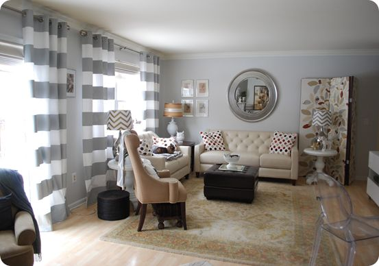 grey and white horizontal stripe curtain based on 100 bucks a panel Crate & Barrel but hacked on Ikea for a fraction. Isn't this a cute room!