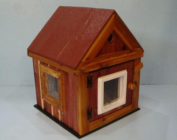 Heated Cat Pod House 2 Doors Ships Next Bus Day Etsy Cat Pod Pod House Outdoor Cat House